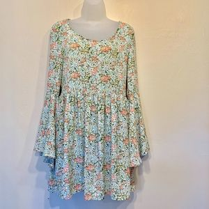 Altar'd State Floral Boho Mini Bell Sleeve Dress